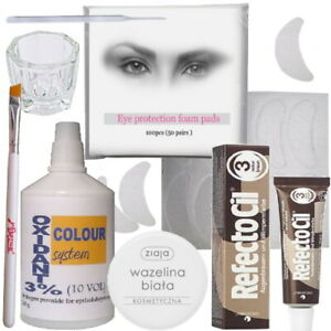 Eyelash Eyebrow Tint Dye Kit Refectocil Cream oxidant dish brush eye protection