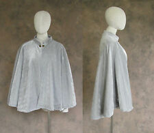 Victorian Grey Velvet Lined Half Cape Cloak Capelet Civil War Dickens Cosplay