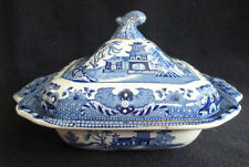 Vintage Staffordshire Burleigh Ware Square Tureen Dish Willow Blue White China