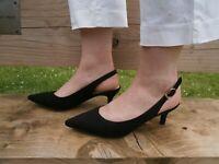 Womens Ladies  Black Low Heel Closed Toe Sling Back Shoes, UK 2 3 4 5 6