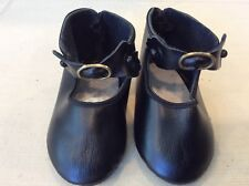 "4 1/8"" Black Leather Shoes for Antique or Modern Dolls"