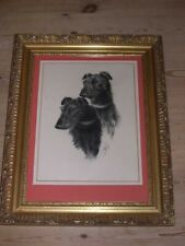 More details for large antique scottish deerhound dog watercolour painting 1931 signed