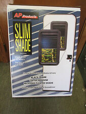 AP Products Slim Shade RV Entry Door Window Frame, Tinted Window + Pleated Shade