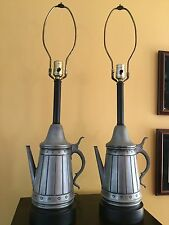 Vintage Pair of Primitive Country Metal Tea/Coffee Pot Lamps