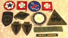 MILITARY INSIGNIA VINTAGE SET(11)PATCHES EMBROIDERY AUTHENTIC ARMY ARTILLERY WAR
