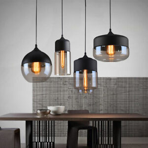 Nordic Modern Ceiling Pendant Light Industrial Retro Loft Glass Shade Lamp E27