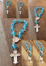 50 Mini Rosary Blue Primera Comunion Baptism Favors Recuerdos De Bautizo