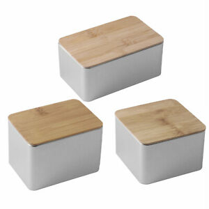 Square Large Capacity Metal Container w/Bamboo Lid Storage Box Coin Candy Case