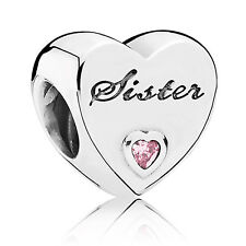 Authentic PANDORA Sisters Heart Love Bead Pink Sterling Silver Charm 791946PCZ