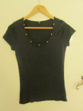 M&S Per Una Navy Blue Very Tight Fitting Wood Bead Scoop Neck Top in Size 12