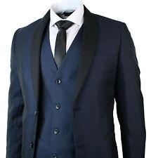 Mens Round Shawl Lapel Tuxedo Dinner Suit 3 Piece Wedding Prom Party Blue Black