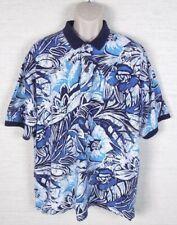Vintage HIGH SIERRA Mens Floral Polo Shirt Size 2XL Blue Hawaiian