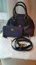 Vivienne Westwood Black & Indigo Blue Jasmine Orb Bag & Wallet matching set