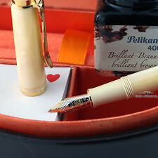Pelikan Special Edition M320 Pearl Fountain Pen w/ Brown Ink - Fine 14k Gold Nib
