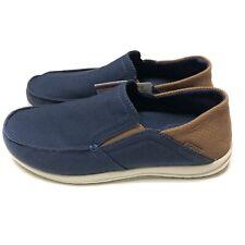 Crocs Santa Cruz Slip On Shoes Blue Canvas Brown 204834-4R9 Mens Size 8