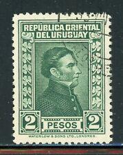 URUGUAY Used Selections: Scott #376 2P Dark Green LARGE Artigas WATERLOW CV$9+