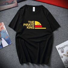 Mens The Pirate King T Shirt Summer Tees Short Sleeve Anime One Piece Luffy Tee