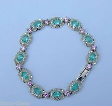 "Oval Green Quartz Bracelet w/ Man-Made Diamonds - .925 Sterling Silver - 7.75"""