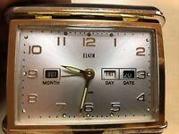 Elgin Folding Travel Alarm Clock, Glows, Month/ Day/ Date Windup, Japan*VINTAGE*
