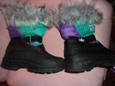GIRLS WINTER SNOWBOOTS SNOW BOOTS SIZE 12 PURPLE TEAL BLACK