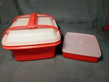 Vintage Tupperware PACK & CARRY LUNCH BOX Paprika Orange With Sandwich Box