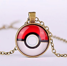 Bronze Anime Pokemon Pokeball Jewellery Glass Dome Pendant Necklace UK
