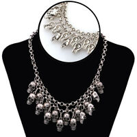 1PC Punk Style Jewelry Statement Bib Chunky Gothic Skull Pendant Necklace