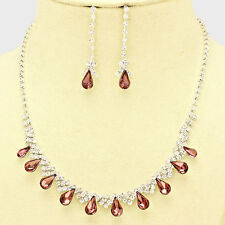 PURPLE AND CLEAR TEAR DROP BRIDAL/PROM ELEGANT   NECKLACE AND EARRING SET e5