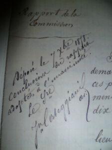 Corse Forêt commission manuscrit signé 1878 Corte vieux papiers collection