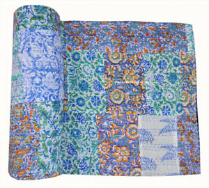 Indian Cotton Twin Assorted Kantha Quilt Patchwork Bedspread Hand Block Printed