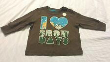 Old Navy Boys Tee Shirt 6-12 Months Baby Infant Brown I Love Snow Days