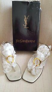 Vtg. Yves Saint Laurent Women's Size 8 1/2 M Gold Metallic Thong Sandals ~Italy