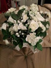 Silk White Rose/ Lily of the Valley Wedding Boquete (Add. accessories see dsrpt)