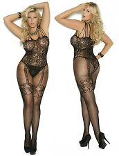 Plus Size FLORAL FISHNET Bodystocking Lace FAUX GARTERS Teddy CROTCHLESS Spandex
