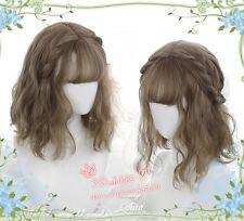 Cute Girl Harajuku Daily Wig Lolita Linen Brown Gradient Cosplay Short Curls