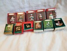 11 Vintage Hallmark Christmas Xmas Ornament Lot-Glass+Miniature-1989- 90-95-2000