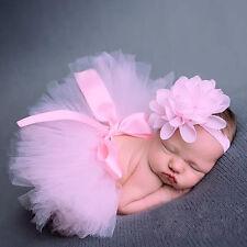 Girl Baby Newborn Clothes Sets Flower Headwear Skirt Cute Photo Prop Dress Pink