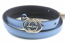 """AUTHENTIC New Gucci($149) GG Buckle Thin Blue Leather Belt #370552 31""""-35"""", NWT"""