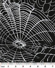 SPOOKTACULAR BLACK SPIDERWEBS WEBS HALLOWEEN FABRIC
