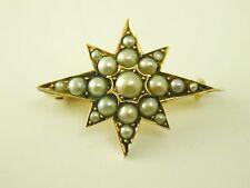 Antique pearl set star brooch pin Victorian 15 carat gold 3.3 grams circa 1880