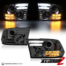 2009-2018 Dodge Ram Smoke LED SMD D.R.L Halo Bar Headlights Headlamps LEFT+RIGHT