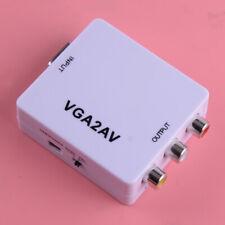 1x VGA to AV RCA CVBS Mini Box HD TV Video Converter Adapter Connector VGA2AV