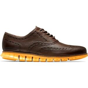 Cole Haan Mens ZEROGRAND Brown Leather Oxfords Shoes 11 Wide (C,D,W) BHFO 0860