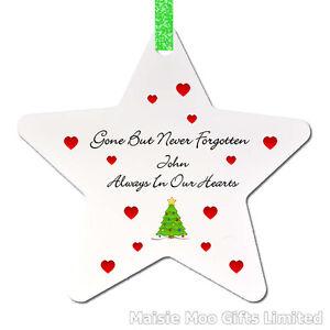 Personalised In Memory Memorial Christmas Tree Ornament Decoration Love Star