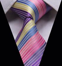 Rainbow Mens Tie Pink Purple Blue Yellow Stripe Silk ET1