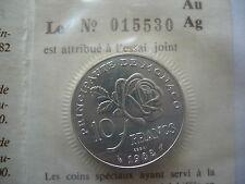 ESSAI 10 Francs 1982 Monaco GRACE KELLY FDC fleur de coin ARGENT MASSIF !