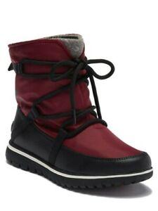 NEW SOREL Sz8US COZY EXPLORER JOURNEYS WATERPROOF ANKLE BOOTS RED /BLACK