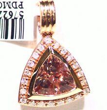 2.29CT 14K Gold Natural Cut Morganite White Diamond Vintage Engagement Necklace