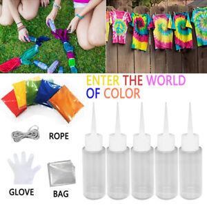 5 colors One-Step Single Tie-Dye Kit Cotton Fabric Textile Paint Colours DIY zz