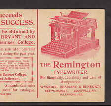 Remington Typewriter No 6 Bryant and Stratton Buisiness College Advertising Card